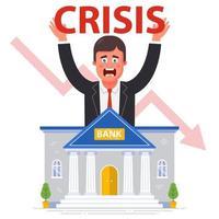 bank konkurs mot bakgrund av den globala finanskrisen. platt vektorillustration. vektor