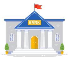 weißes Bankgebäude mit Säulen und Flagge auf dem Dach isoliert. flache Vektorillustration vektor