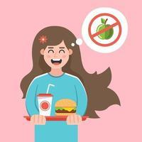 Das Mädchen lehnte eine Diät ab und kaufte sich ein Fast Food. schädlicher Lebensstil. flache Zeichenvektorillustration. vektor