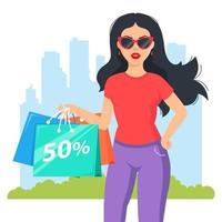 Mädchen kaufte modische Kleidung. attraktiver Shopaholic mit Brille. flache Zeichenvektorillustration vektor