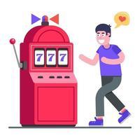 Mann süchtig nach Glücksspielautomaten. Liebhaber der Aufregung. flache Zeichenvektorillustration. vektor