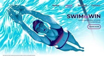 en vektorillustration för ui eller målsida för den kvinnliga simningsidrottaren som dyker under vattnet i poolen med beslutsamhet i ögonen