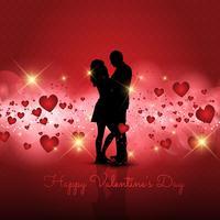 Schattenbild von Paaren auf Valentinstaghintergrund