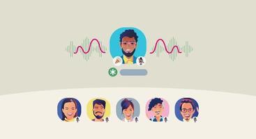 Eine Frau verwendet Kopfhörer, hört auf ein Smartphone. Der Bildschirm zeigt den Status von Personen an, die soziale Netzwerkanwendungen verwenden, online lernen oder sich treffen vektor