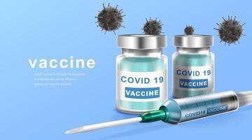 Coronavirus Impfung. Immunisierungsbehandlung. Impfflasche und Spritzeninjektionswerkzeug für covid19. Vektorillustration. vektor