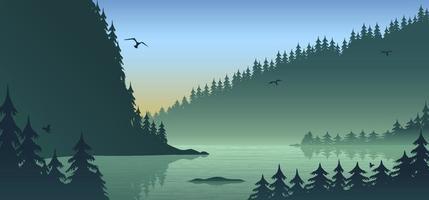 Schattenbild-Waldlandschaft, flaches Design mit Farbverlauf, Vektorillustrationshintergrund vektor