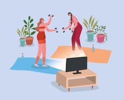 Frauen, die zu Hause trainieren vektor