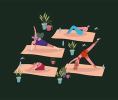 kvinnor som tränar med krukväxter vektor