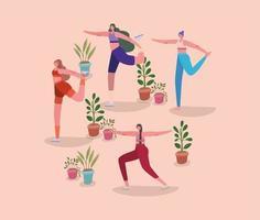 kvinnor som sträcker sig med krukväxter vektor