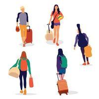 Urlaub und Abenteuer reisen die Welt Zeichensatz vektor