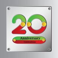 20 Jahre Jubiläum Vektor Vorlage Design Illustration