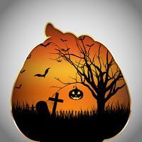 Halloween bakgrunds pumpa med skuren form