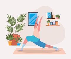 Mann macht Yoga zu Hause vektor