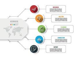 Planung des Arbeitsprozesses der Geschäftsplattform Erstellen von Werbemitteln, Marketing, Präsentation verschiedener Werke. Vektor-Infografik-Design. vektor