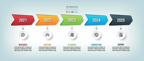årlig affärs tidslinje infografisk mall design. vektor