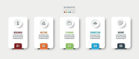 affärs- eller marknadsföringsinfografik med steg- eller alternativmall. vektor