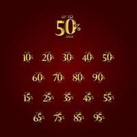 rabatt försäljningsetikett upp till 50 rödguld vektor mall design illustration