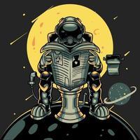Astronaut sitzt in der Toilette auf Mond oder Planet, während er eine Zeitung liest. Astronaut im kosmischen Charakter. Druck für T-Shirts und ein anderes, trendiges Bekleidungsdesign. kindische Vektorillustration vektor