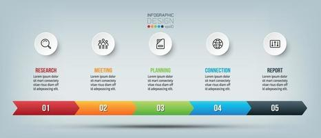 Business Timeline Infografik-Diagramm mit Schritt oder Option.