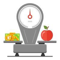spendera pengar på matvaror. balans mellan pris och mat. platt vektorillustration.