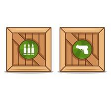 Holzkisten mit Waffen und Munition. flache Vektorillustration. vektor