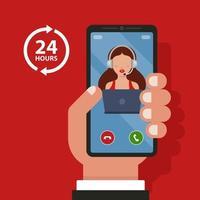 Rufen Sie das Callcenter vom Telefon aus an. Hilfe 24 Stunden. flache Vektorillustration.