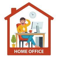 mannen arbetar på distans i sitt hus. bekväma arbetsförhållanden. platt vektorillustration.