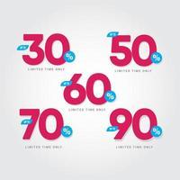 Rabatt bis zu 30 50 60 70 90 zeitlich begrenzte Vektorschablonen-Designillustration