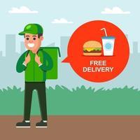 Kurier liefert Fast Food an einen Kunden. flache Zeichenvektorillustration vektor