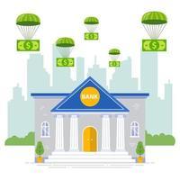 bankförsäkring mot kris. hjälp- och investeringsbanksystem. platt vektorillustration. vektor