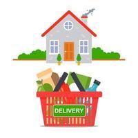 Lebensmittellieferung vom Laden direkt zu Ihnen nach Hause. flache Vektorillustration vektor