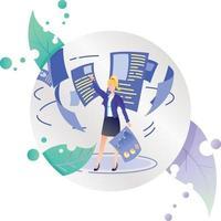 Frauen Dateimanager Finanzen Geschäft fliegende Dokumente Symbol Illustration im Kreisrahmen vektor