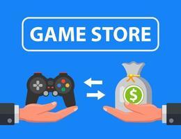 Spieleladen, der Konsole für Geld verkauft. flache Vektorillustration.