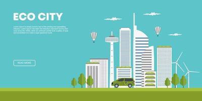 Ökologiekonzept. moderne Stadt und entwickelte Landwirtschaft. flache Karikaturvektorillustration der grünen Öko-Stadt isometrische natürliche Energiequellen für das städtische Leben. futuristische iot Stadt mit Windenergie. vektor