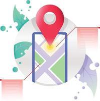 Navigationskarte Standortmarkierungsinformationssymbolillustration im Kreisrahmen vektor