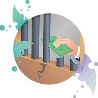 Geldkonzept illegale Kriminalität Gefängnis Gewalt Gesetz schmutzige Person Symbol Illustration im Kreis Rahmen vektor