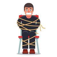 Der Mann wurde entführt und auf einem Stuhl gefesselt. Lösegeldforderung. flache Zeichenvektorillustration. vektor