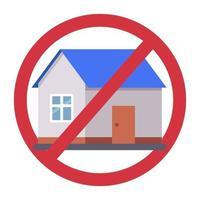 streckade ut hus tecken. förbud mot bostäder. platt vektorillustration.