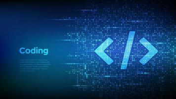 programmeringskod. kodning eller hacker bakgrund. programmeringskodikon med binär kod. digital binär data och strömmande digital kod. vektor