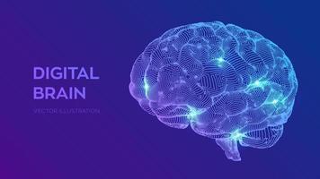 digitales Gehirn. 3D-Wissenschafts- und Technologiekonzept. neurales Netzwerk. iq testing, künstliche Intelligenz virtuelle Emulation Wissenschaft Technologie. Brainstorming denken Idee. vektor