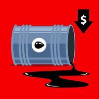 fallande oljepriser. pil ner dollar. platt vektorillustration.