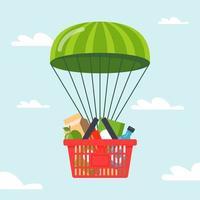 Lieferung von Lebensmitteln an Menschen mit dem Fallschirm. flache Vektorillustration. vektor