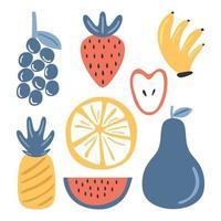 färsk frukt färgad set element. druva, jordgubbe, banan, äpple, ananas, vattenmelon, apelsin isolerad på vit bakgrund. stänk av juice koncept. vektor skiss illustration