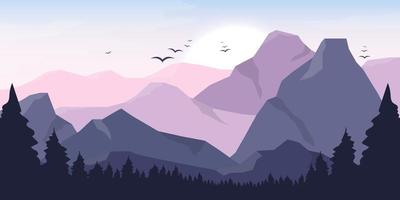 Berg schöne Landschaft Hintergrund Vektor-Design-Illustration vektor