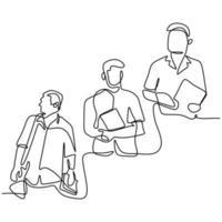 en kontinuerlig linje ritning av tre unga man på universitetet. glada stiliga killar står poserar medan du håller en bok i campusområdet isolerad på vit bakgrund. minimalistisk design vektor