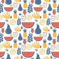färsk frukt sömlösa mönster. druva, jordgubbe, banan, äpple, ananas, vattenmelon, apelsin. tropiska frukter. hälsosam livsstilskoncept. vektor näring livsmedel tecknad illustration