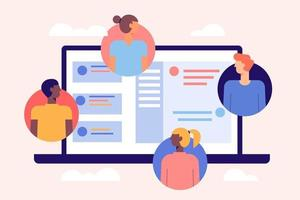 olika människor som deltar i online-konferenssamtalet. vänner träffas online. team som arbetar hemifrån via videosamtal på olika enheter. bakgrund med ikoner mönster vektor