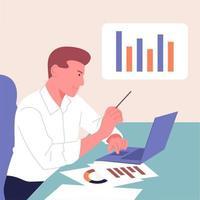 analys, statistik, planering, affärspartnerskoncept. ungdomar, man genomför analys, utvecklingsstrategi. platt vektor