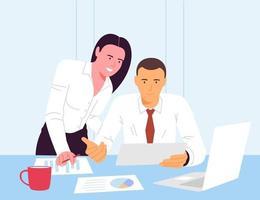 Eine flache Vektorillustration des Arbeitsablaufs im Büro, eine Gruppe von Geschäftsleuten, die an einem Computer arbeiten, und ein anderer Teil der Vermarkter diskutieren Marketinglösungen und Geschäftspläne.