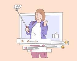 Social Networking, Werbung, SMM-Konzept. junge glückliche Frau oder Mädchen betreibt einen Blog. Vektorillustration